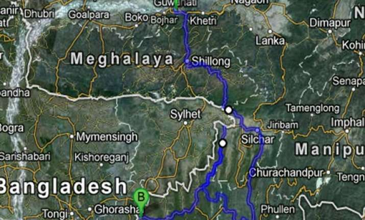 meghalaya bus set on fire hunt on for rebels