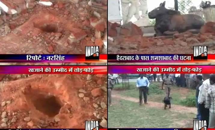 miscreants dug up shiva temple in hyderabad expecting