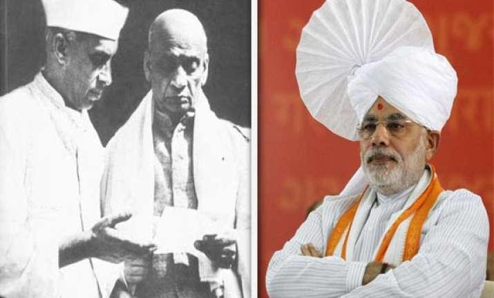 modi criticizes nehru for kashmir praises sardar patel for