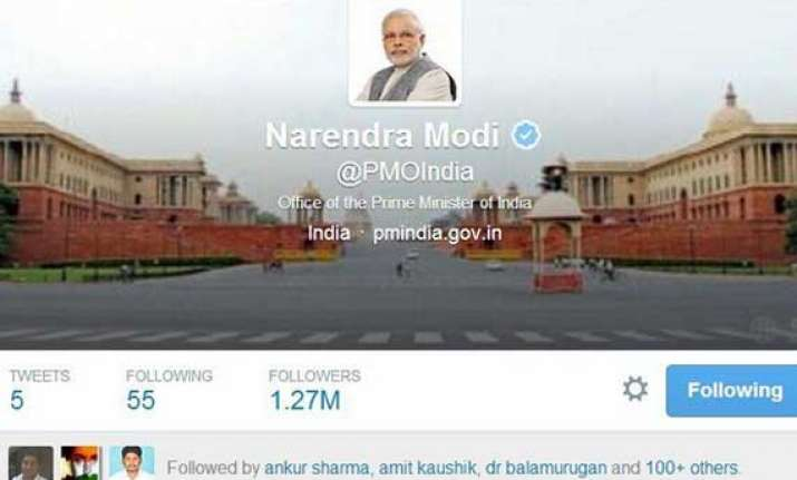 modi s pmo gets control of official twitter handle