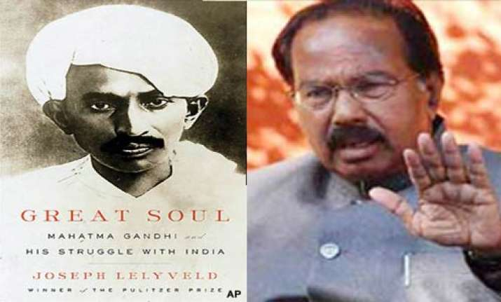 moily rules out ban on lelyveld s gandhi book