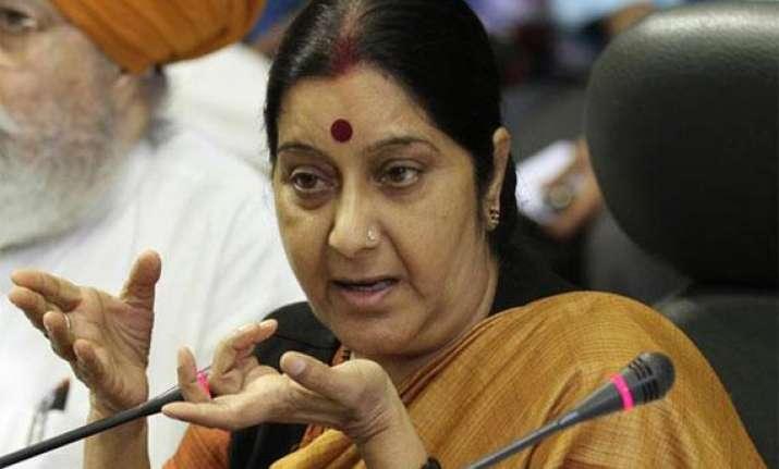 no change in india s policy on palestine sushma swaraj
