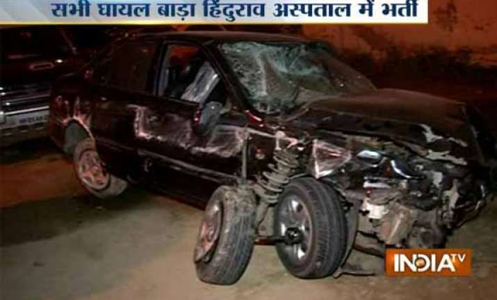 over speeding car runs over six people in delhi