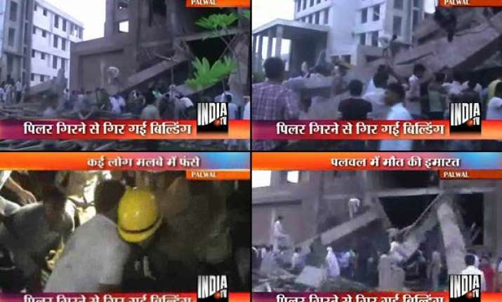 palwal college building collapse 8 labourers killed 2