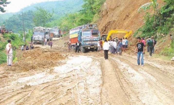 people in manipur evacuate due to landslides volcanic
