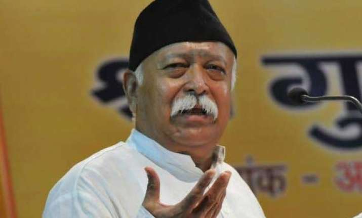 rss chief asks cadres to work for strong society