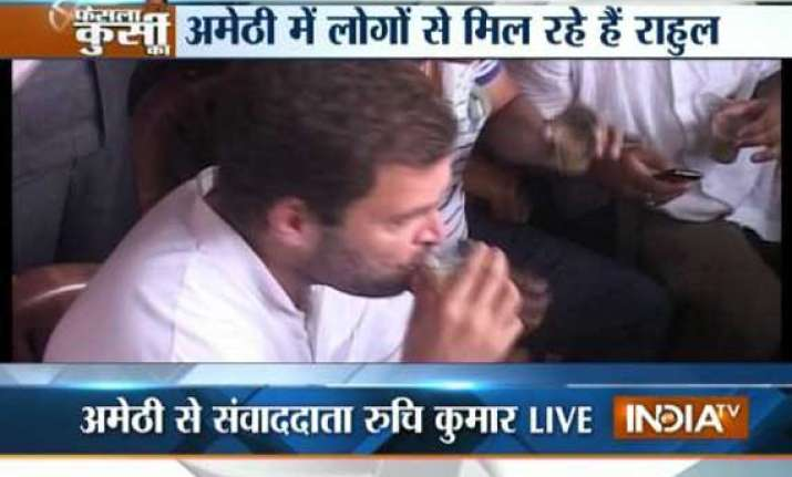 rahul gandhi in amethi on polling day