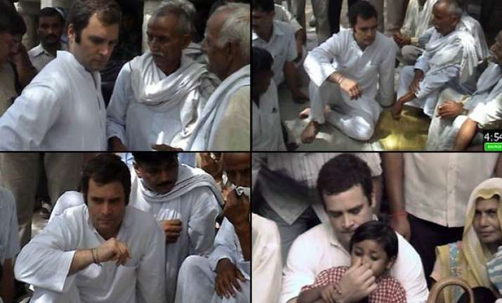 rahul visits bhatta parsaul again starts foot march