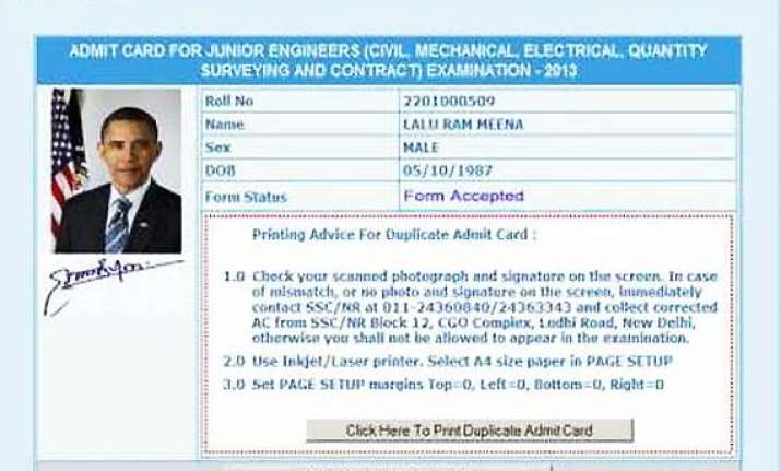 rajasthan man gets exam admit card with obama s photo from