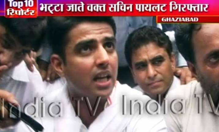 sachin pilot arrested on way to bhatta parsaul later