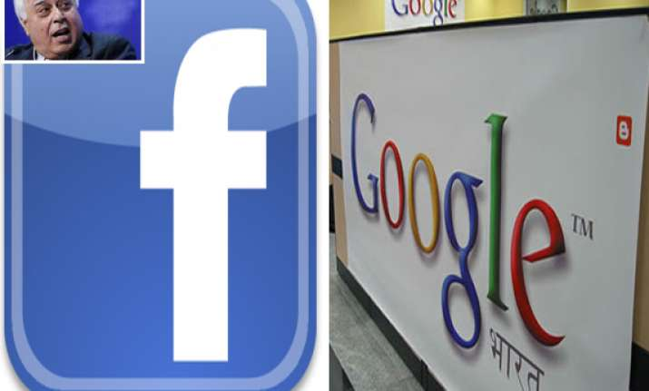 sibal threatens action against google facebook says