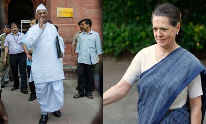 sonia gandhi unlikely to meet anna hazare today