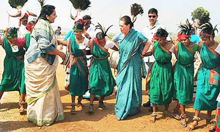 sonia surprises many by dancing with tribal women