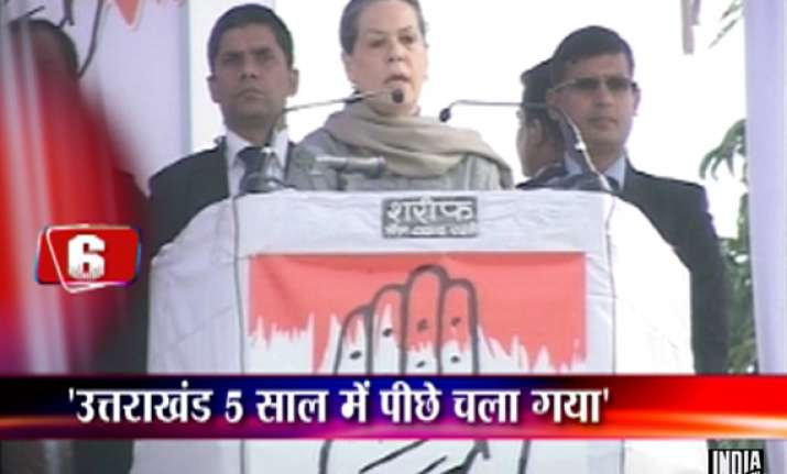 sonia tells roorkee rally bjp fooling people by changing cm