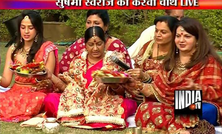 sushma swaraj observes karva chauth