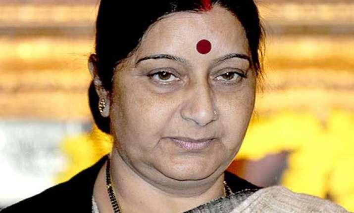 sushma swaraj reviews iraq action plan with gulf envoys