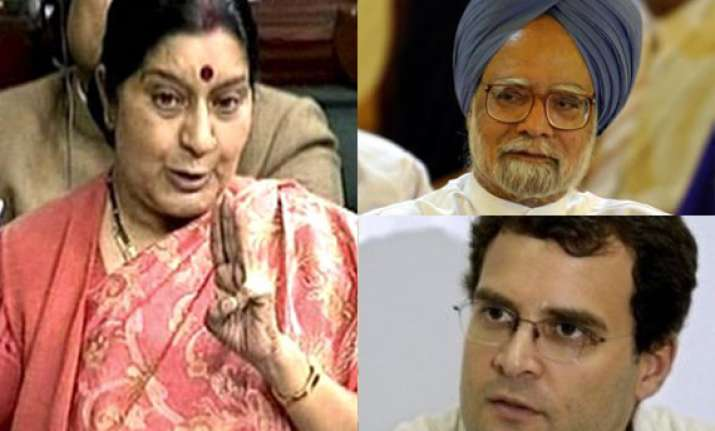 sushma says rahul s remark pours cold water on pm s