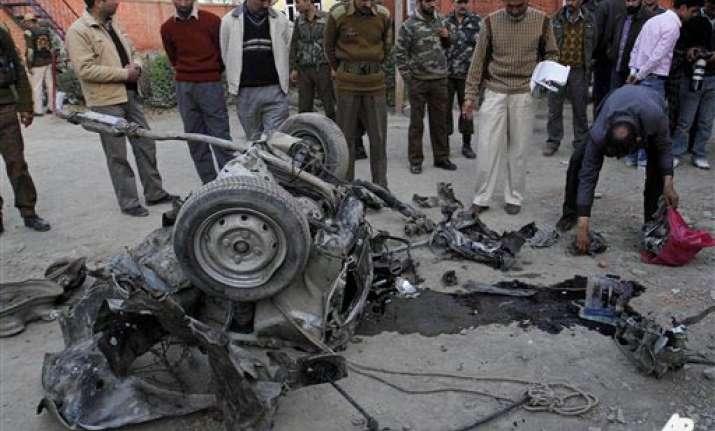 suspected militant killed 20 people injured in j k car blast