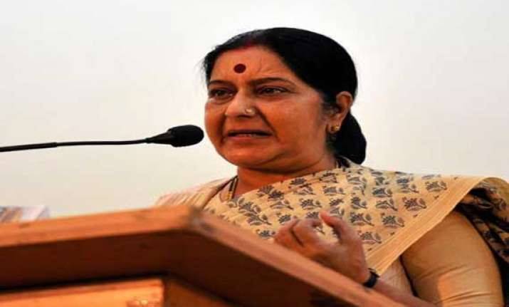 swaraj urges voters to get rid of dark years of cong misrule