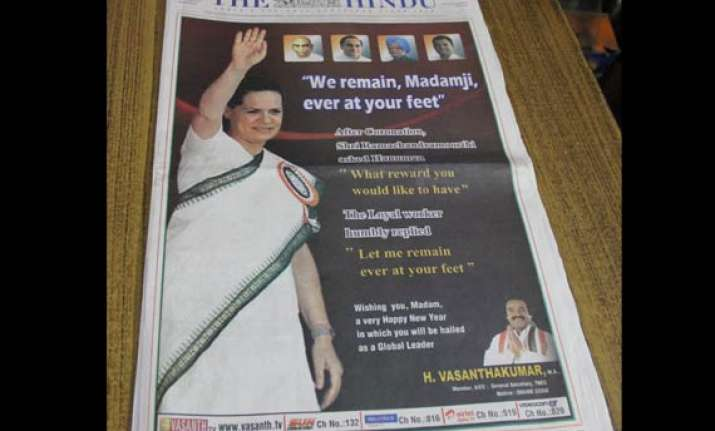tn congress leader puts out front page ad we remain madamji
