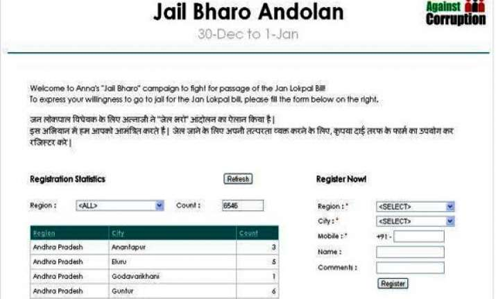 team anna launches online campaign for jail bharo agitation