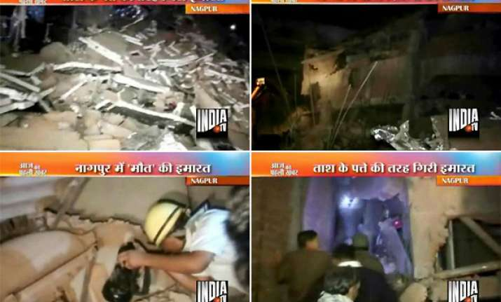 ten feared trapped two killed 9 injured in nagpur building