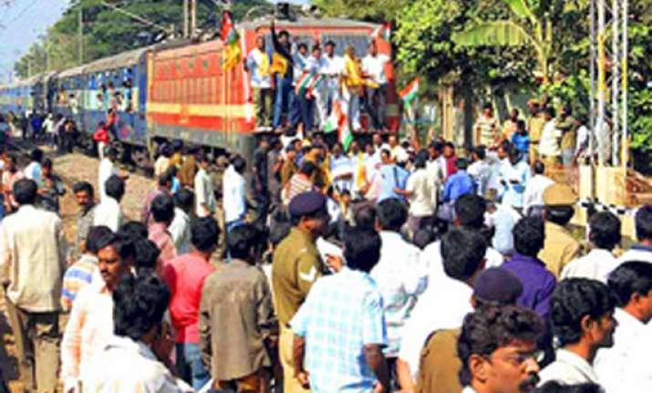 three day rail roko begins in telangana 124 trains cancelled