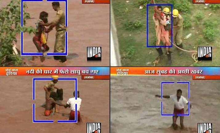 three sadhus from amarnath rescued from swirling flood water