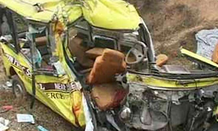 two killed 20 injured as school bus hits another bus in