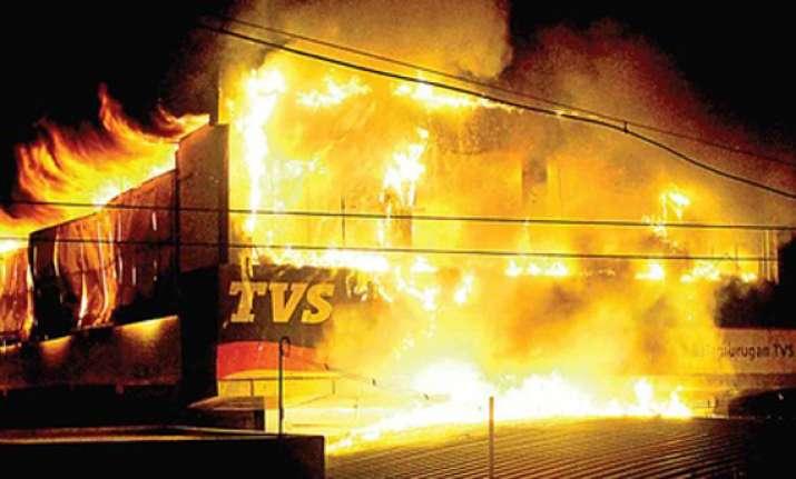 two wheeler showroom gutted in fire