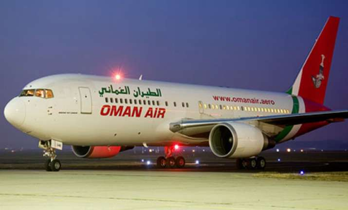 tyres of oman air flight burst while being taxied to bay
