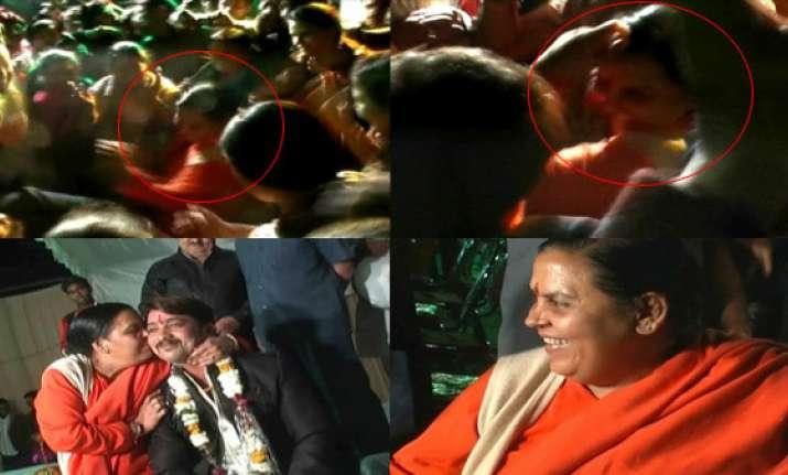 uma bharati dances at a wedding reception