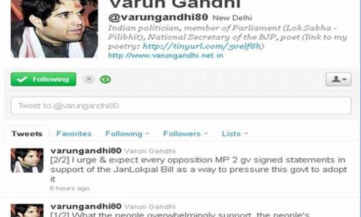 varun gandhi urges all oppn mps to support janlokpal bill