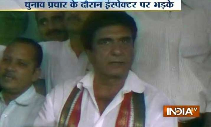 watch raj babbar shouting at up police inspector in