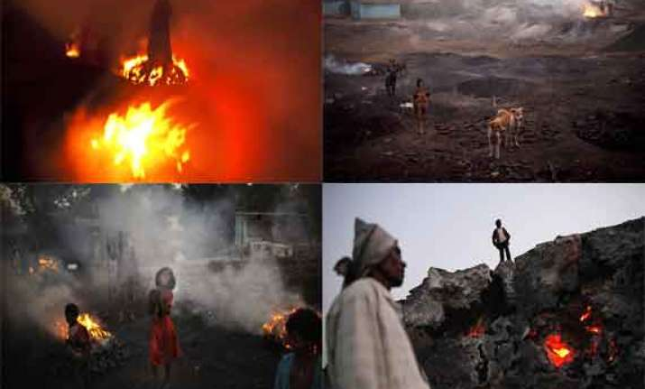 watch in pics jharia coalfields on fire for last 98 years