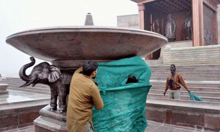 work on veiling mayawati elephant statues begins in up
