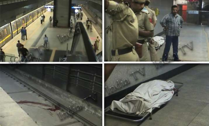 young woman jumps before metro train dies