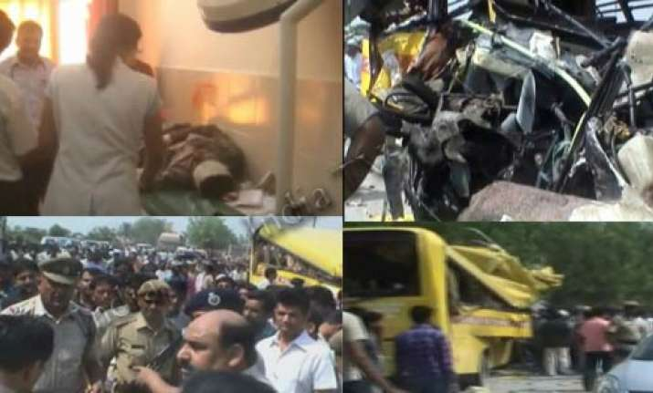 12 haryana students killed in bus truck collision