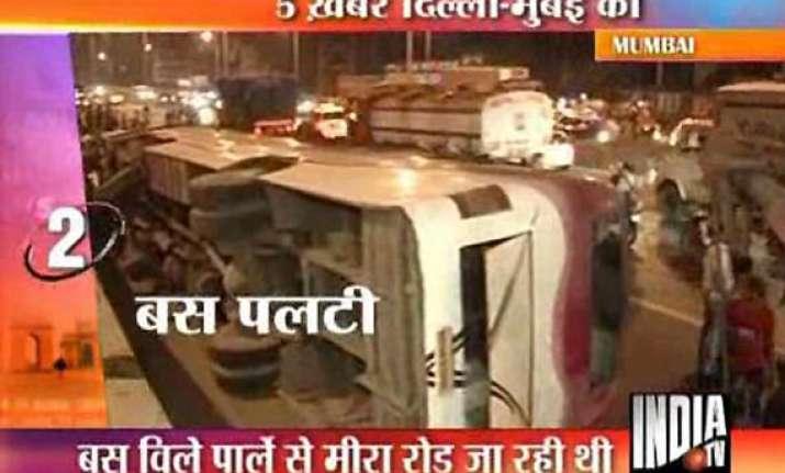 11 injured as bus overturns on mumbai western expressway
