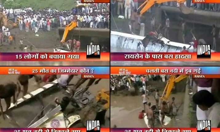 30 missing 25 bodies recovered as bus falls into river