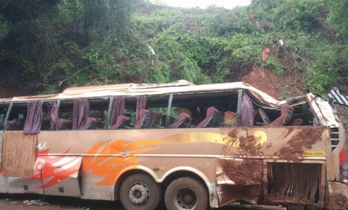 2 killed as mumbai goa tourist volvo bus falls on hilly