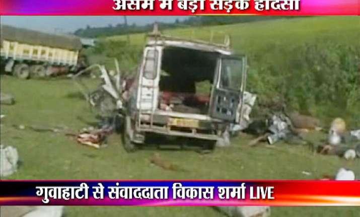 31 people dead as truck hits two vans in assam