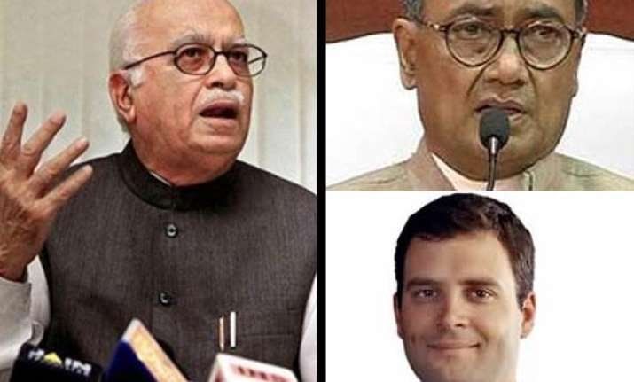 advani lashes out at digvijay for comments on rahul