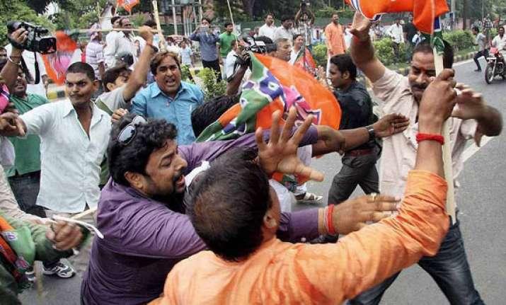 bjp jd u workers clash during bihar bandh