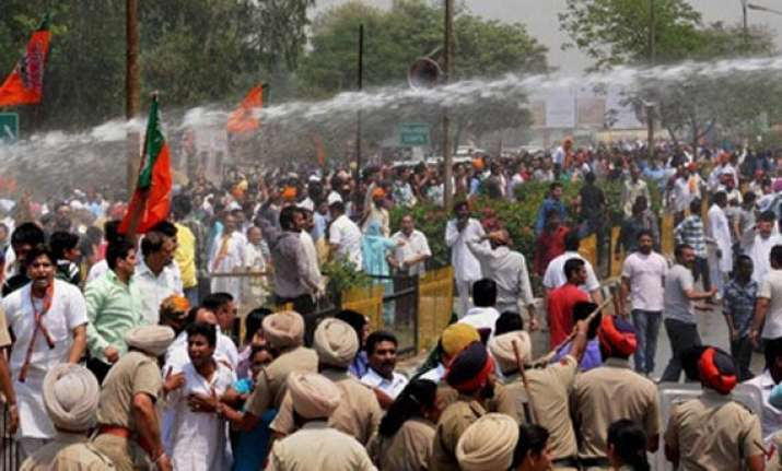 bjp protests outside cbi office in chandigarh