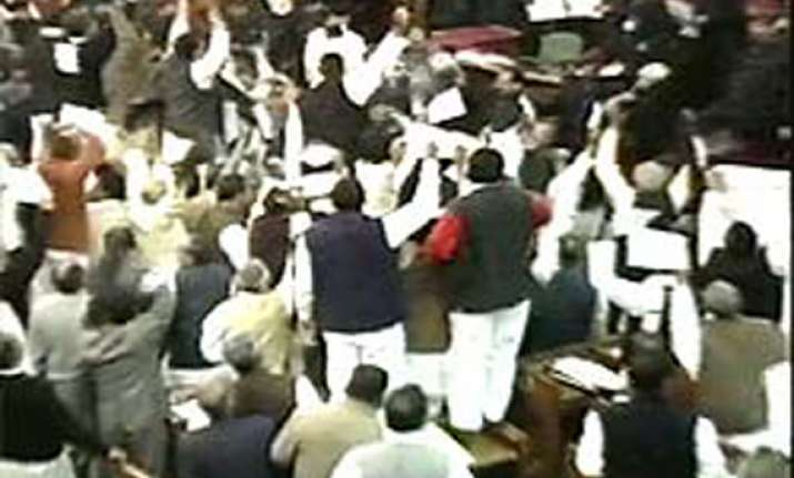 bsp mlas stand up on seats throw paper balls at up governor
