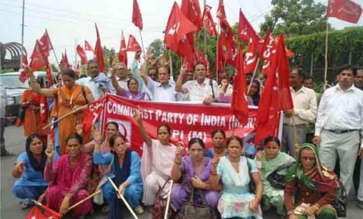 cpi m holds protest against nda govt s policies