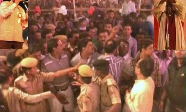 congress bjp councillors in udaipur scuffle after poet