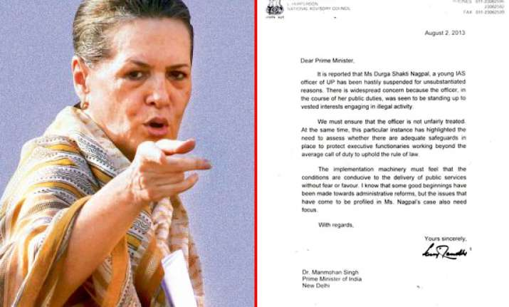 durga nagpal suspension sonia gandhi writes to pm demands