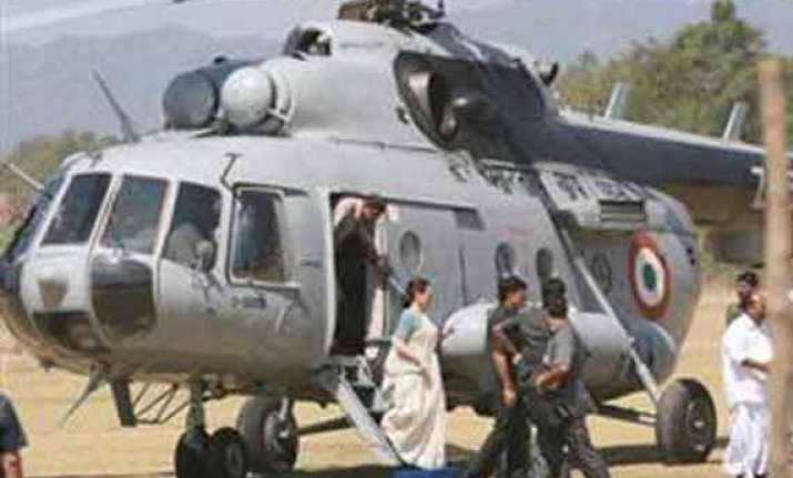 helicopter develops snag sonia travels by road in ap